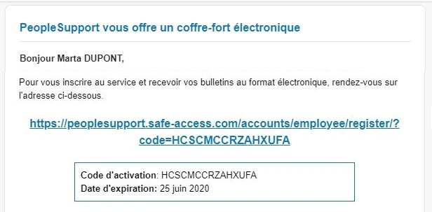 e mail code d'activation Mypeopledoc